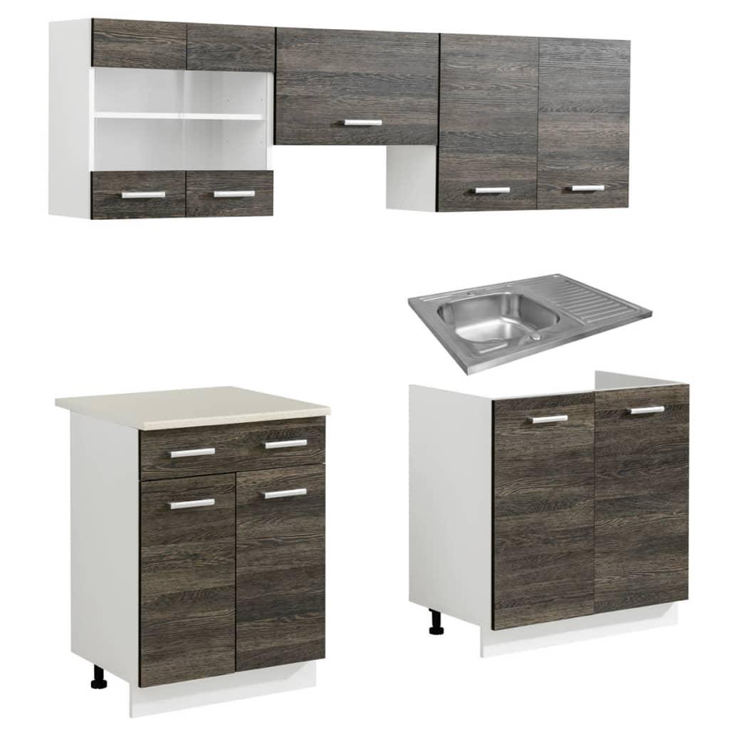 kitchen cabinet unit stone wenge look 5 pcs with sink 80 x 60 cm