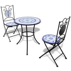 Metal Outdoor Table And Chairs Australia Massage Pad For Office Chair Vidaxl Mosaic Bistro 60 Cm With 2 Blue