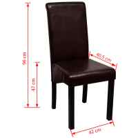 Dining Chair Artificial Leather Brown Set of 6 | vidaXL.com.au