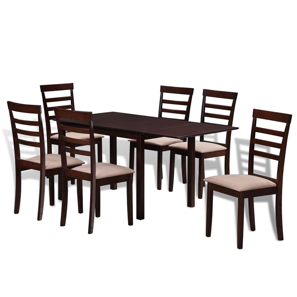 Mesa de comedor extensible con 6 sillas madera maciza