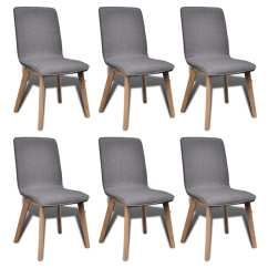Grey Fabric Oak Dining Chairs Camp Chair With Canopy 6 Dark Gray Indoor Vidaxl