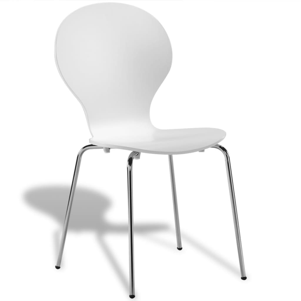 White Stackable Chairs 6 Stackable Butterfly Dining Chairs White Vidaxl Co Uk