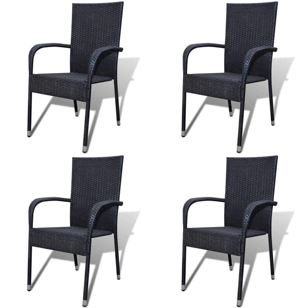 bamboo dining chairs sydney lazy boy on sale vidaxl garden 4 pcs poly rattan black