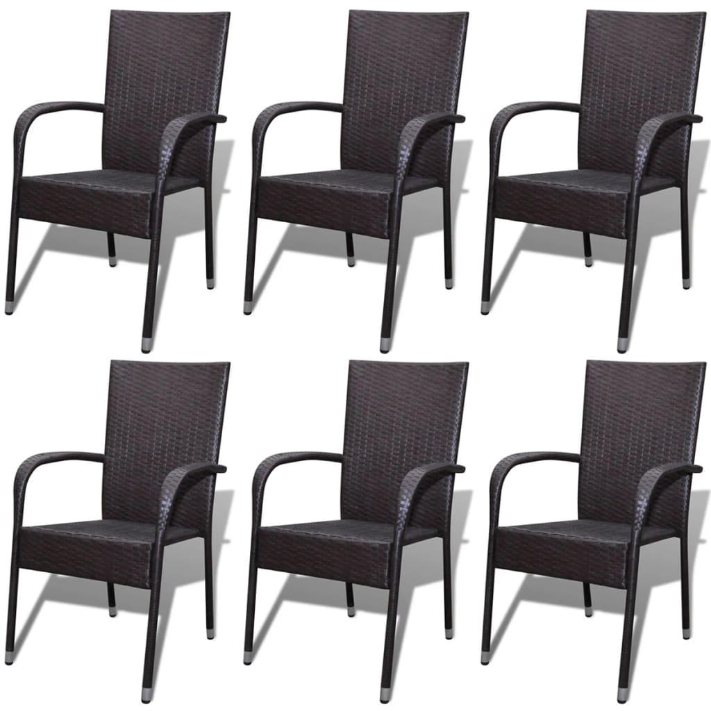 bamboo dining chairs sydney black wing chair vidaxl garden 6 pcs poly rattan brown