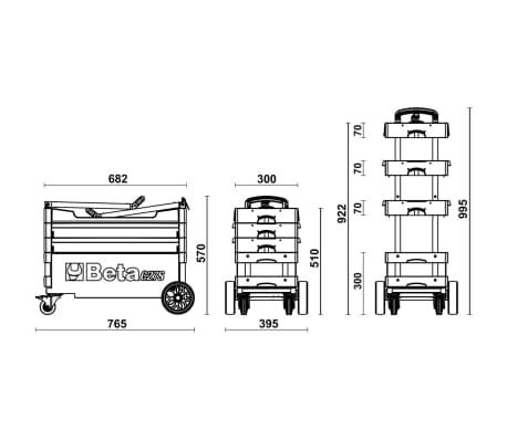 Beta Tools Inklapbare gereedschapswagen C27S-O oranje