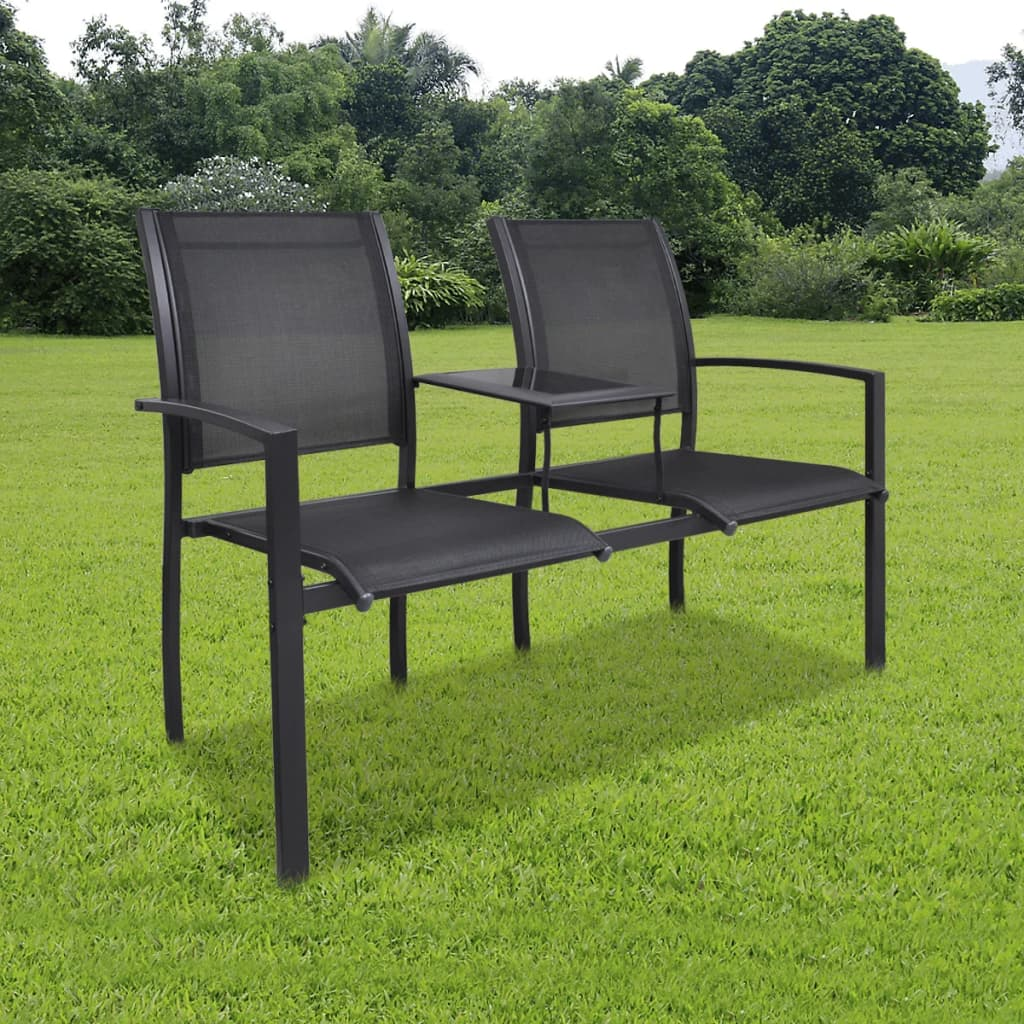 Double Seat Chair Vidaxl Steel 2 Seat Chair Double Black Textilene Vidaxl