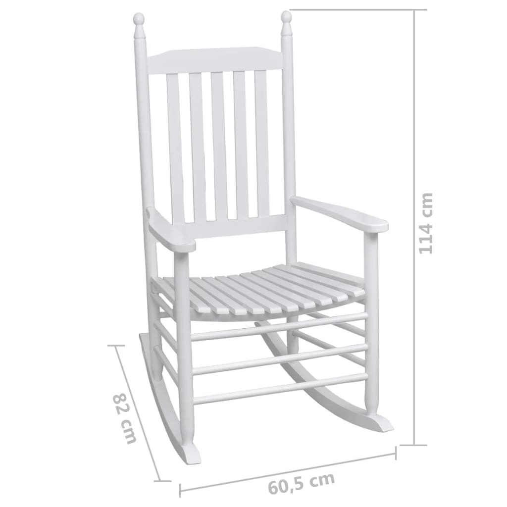 Wood Rocking Chair White Curved Seat  vidaXLcouk