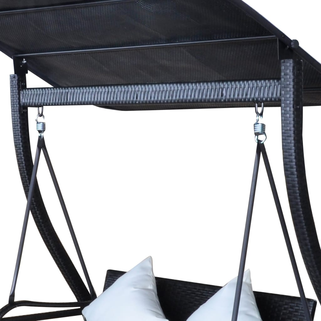 Black Hanging Chair Outdoor Hanging Swing Chair With Roof Black Rattan