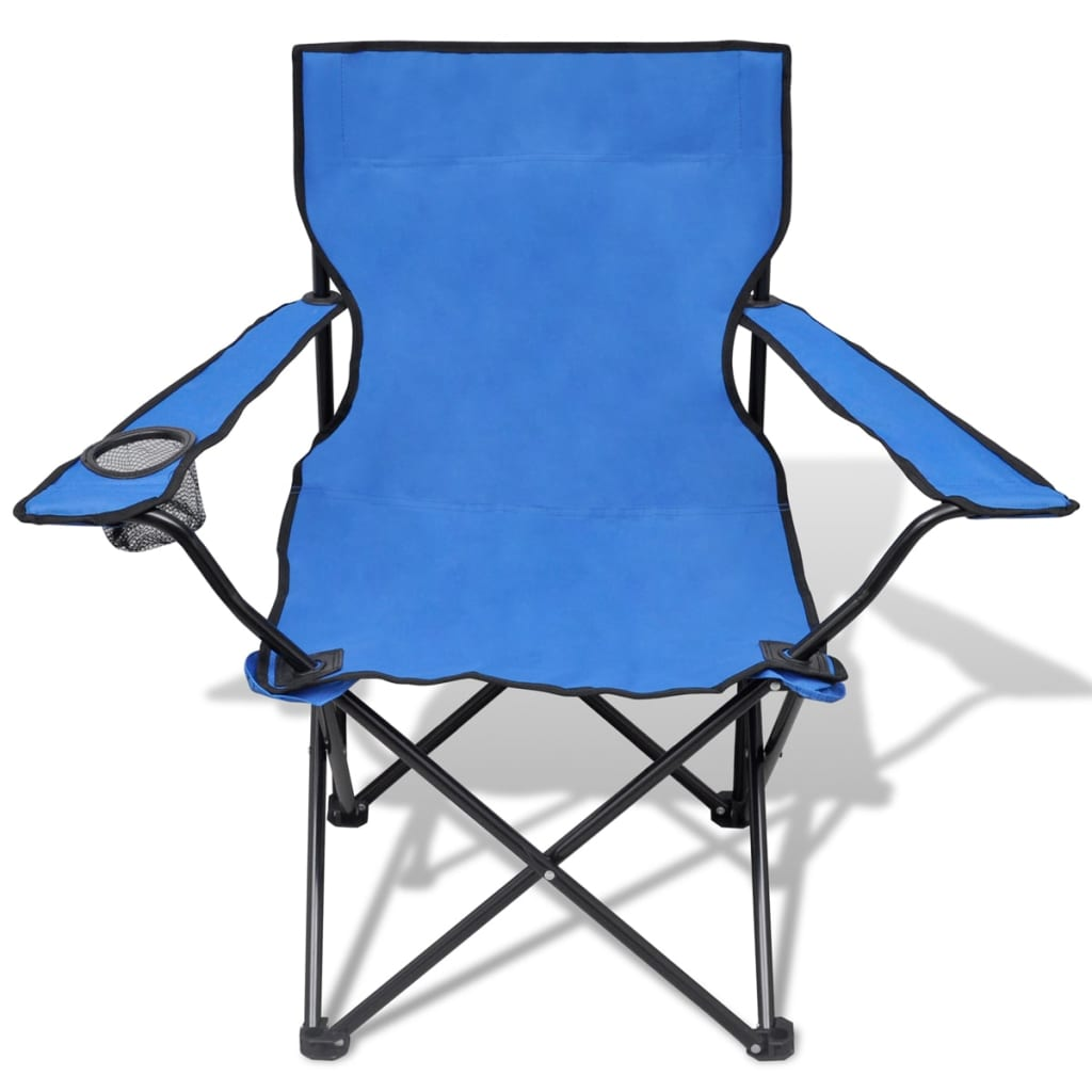 blue folding chairs ergonomic chair scoliosis set 2 pcs camping outdoor with bag