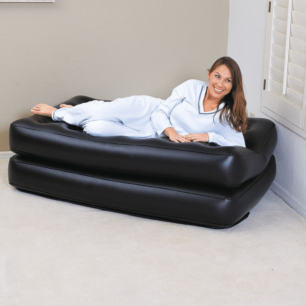 bestway inflatable air sofa couch bed corner lounge recliner 5 in 1 black 75054 vidaxl co uk