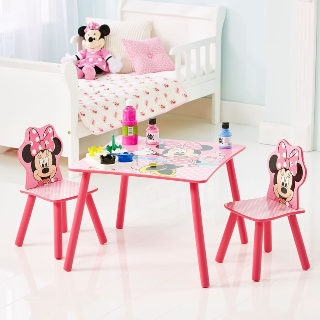 minnie table and chairs adirondack chair plans pdf disney with 2 mouse 63x63x45 cm pink
