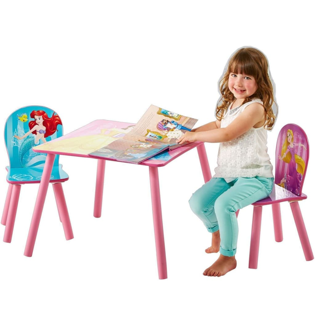 disney table and chair set portable tattoo 3 pcs princess 45x63x63 cm pink