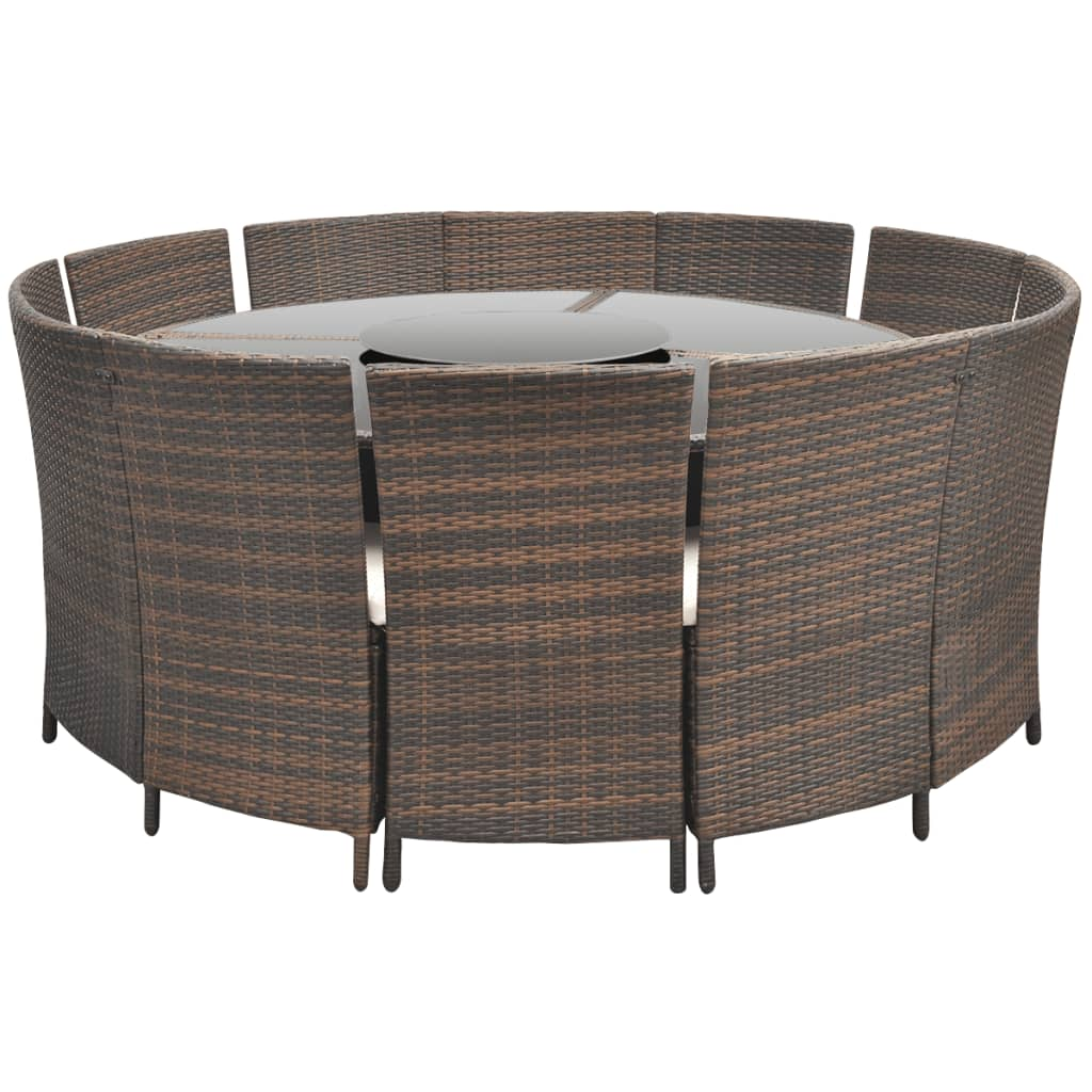 Round Table And Chair Set Vidaxl Poly Rattan 12 Person Round Table And Chair Set