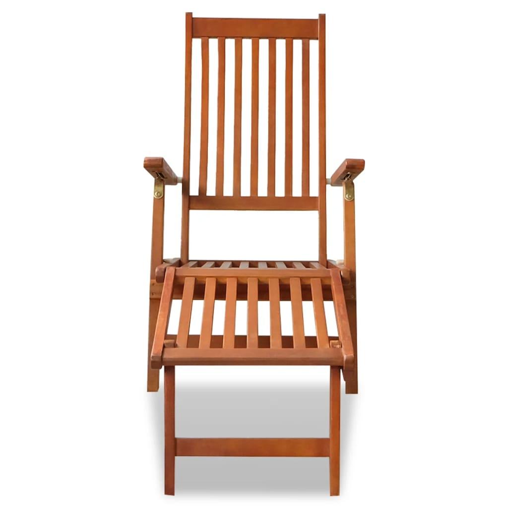 outdoor folding chair with footrest teak rocking uk deck acacia wood vidaxl