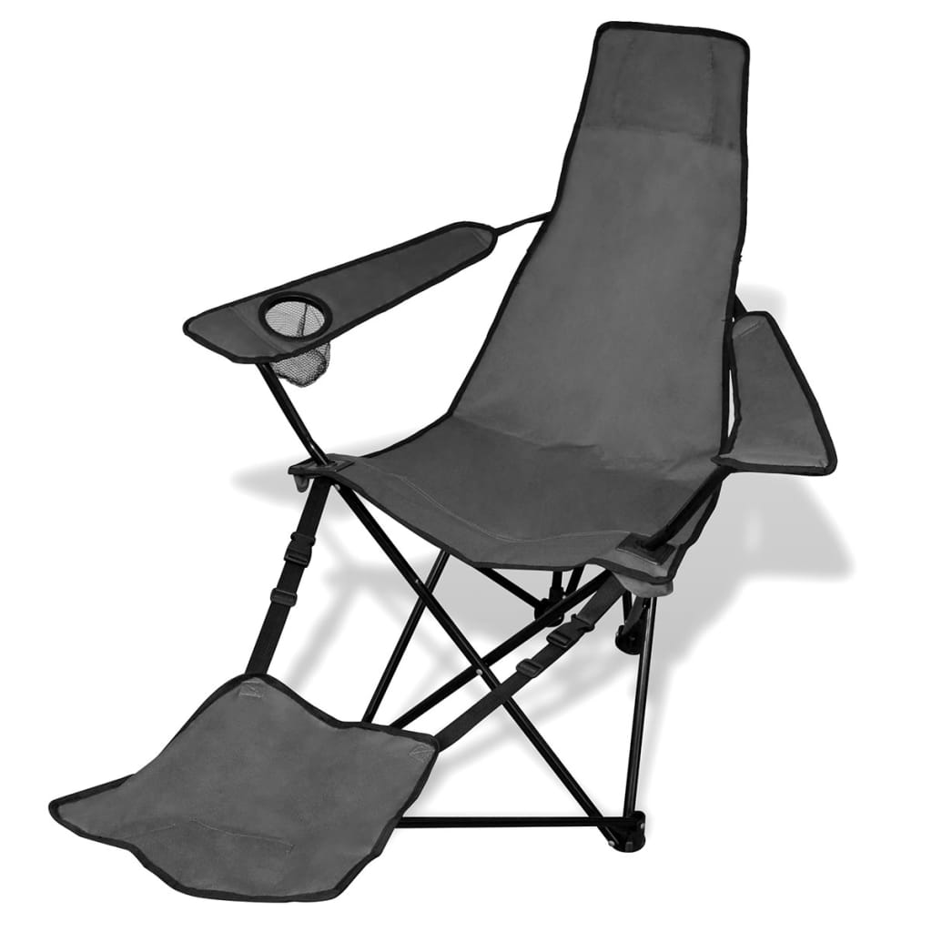 Camping Chair With Footrest 2 Pcs Foldable Camping Chair With Footrest Grey Vidaxl Co Uk