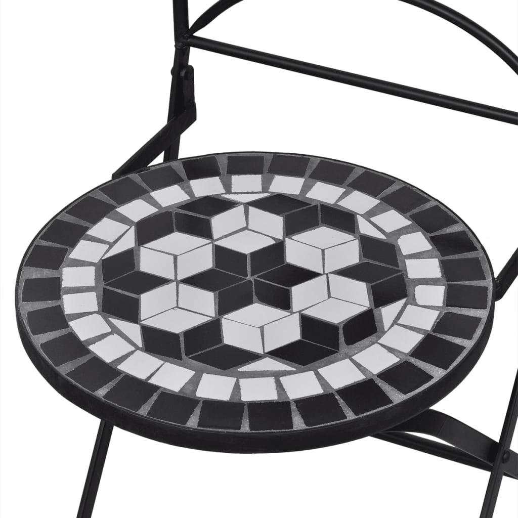 white bistro chairs leather swivel recliner chair and stool mosaic black set of 2 vidaxl co uk