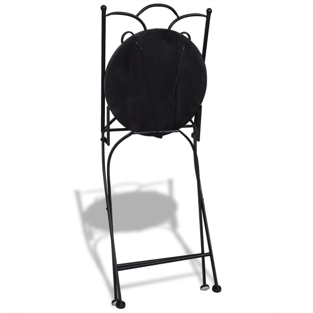 white bistro chairs blush chair sashes uk mosaic black set of 2 vidaxl co