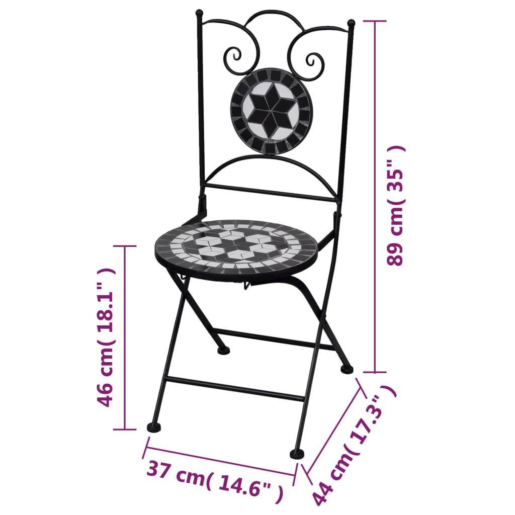 white bistro chairs revolving chair below 2000 mosaic black set of 2 vidaxl co uk