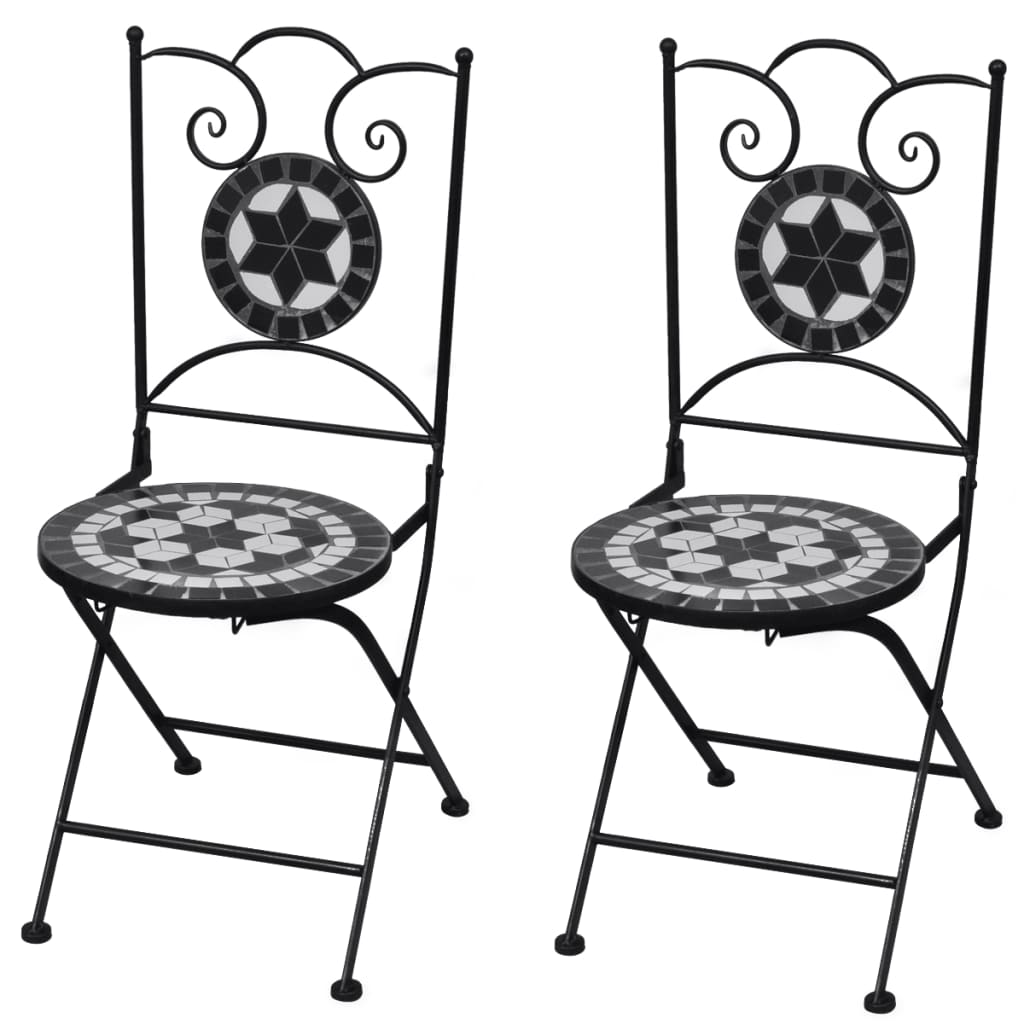 2 chair bistro set outdoor rocking chairs white mosaic black of vidaxl co uk