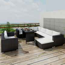 Outdoor Sectional Furniture Wicker Patio Rattan Sofa Set