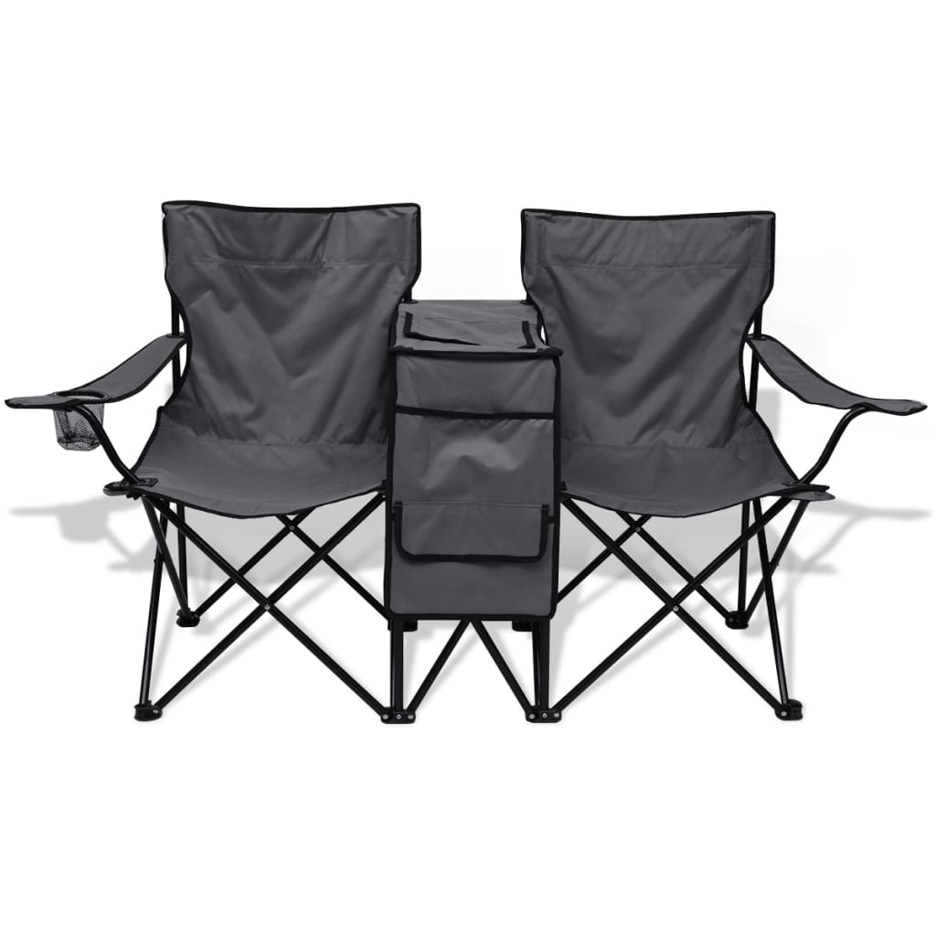 Double Folding Camping Chair Vidaxl Double Camping Chair 155x47x84 Cm Grey Vidaxl Co Uk