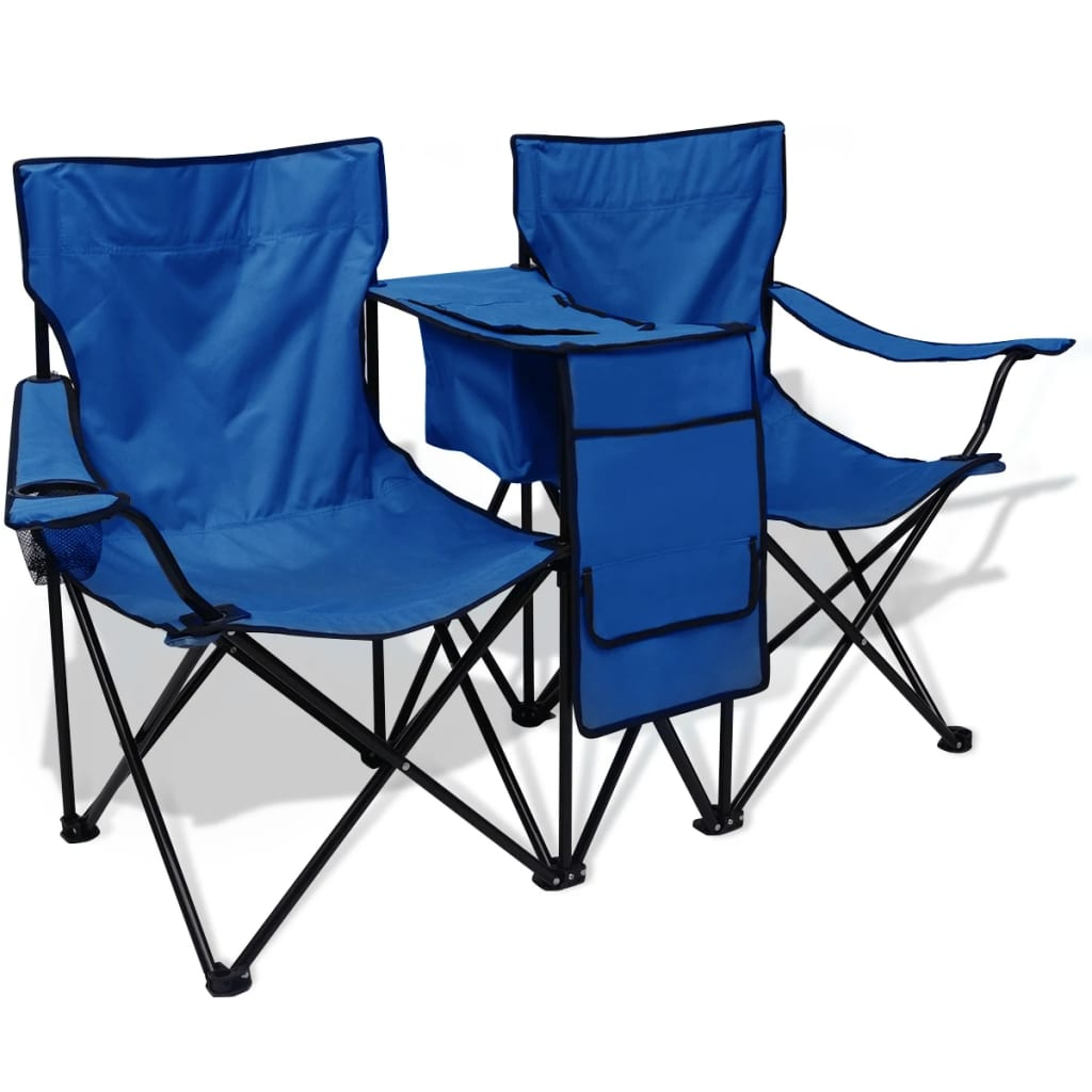 Double Folding Camping Chair Vidaxl Double Camping Chair 155x47x84 Cm Blue Vidaxl Co Uk