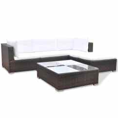 Oxford 4 Piece Brown Rattan Effect Sofa Set French Style Sofas Uk Vidaxl 14 Garden Poly