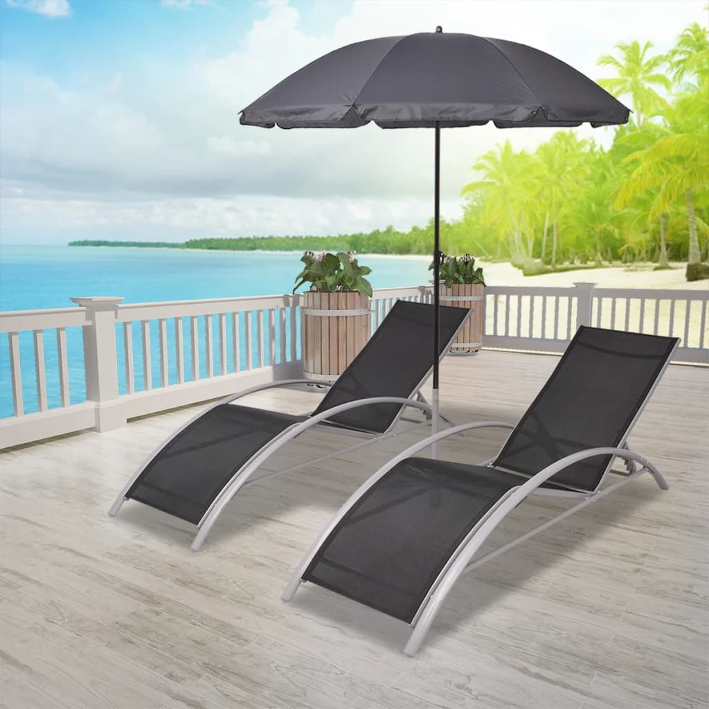 aluminium reclining garden chairs uk menards white lawn 3 piece sun lounger set with umbrella beach chair recliner