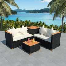 Vidaxl Garden Sofa Set 14 Piece Wicker Poly Rattan Black