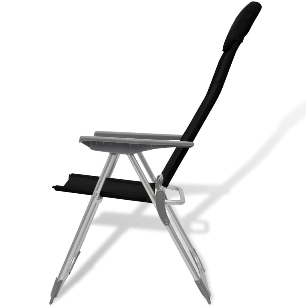 Reclining Camp Chair Vidaxl 4x Camping Chairs Aluminum Folding Black Reclining