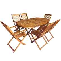 Vidaxl Outdoor Dining Set 7 Piece Folding Solid Eucalyptus