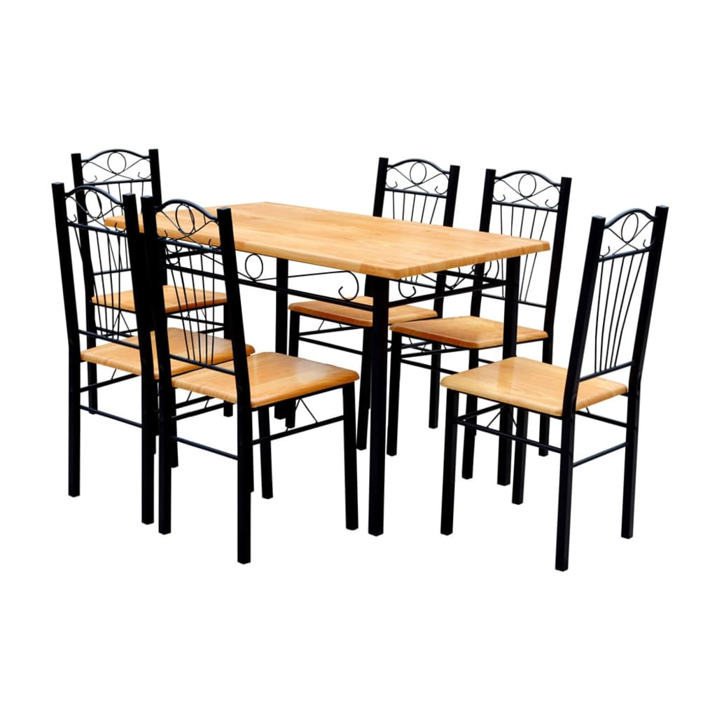 dining table chair covers uk amish glider rocking and 6 chairs light wood vidaxl co