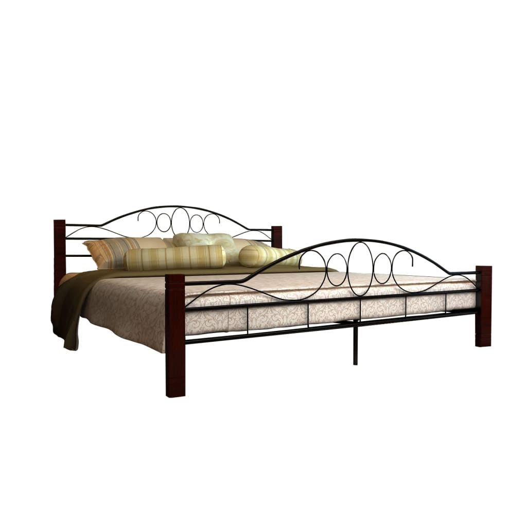 New Black Metal Bedframe Bed Frame Super King Size 180x200