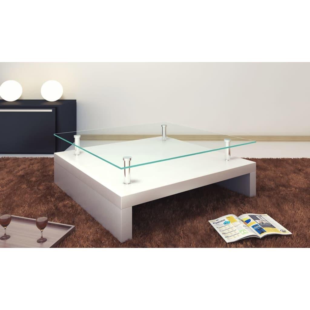 Glass coffee table square white  vidaXLcouk