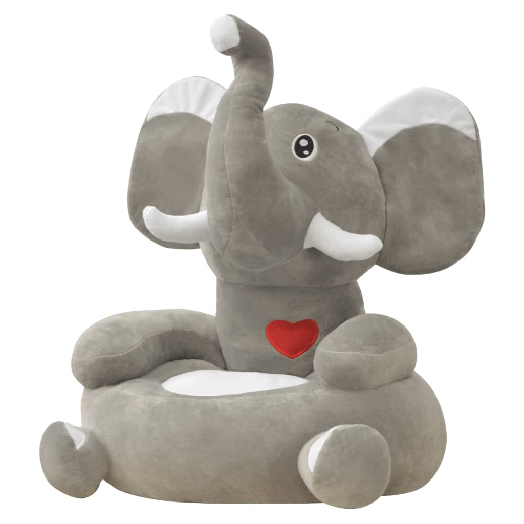 childrens plush chairs brown leather office chair modern vidaxl children 39s elephant grey co uk