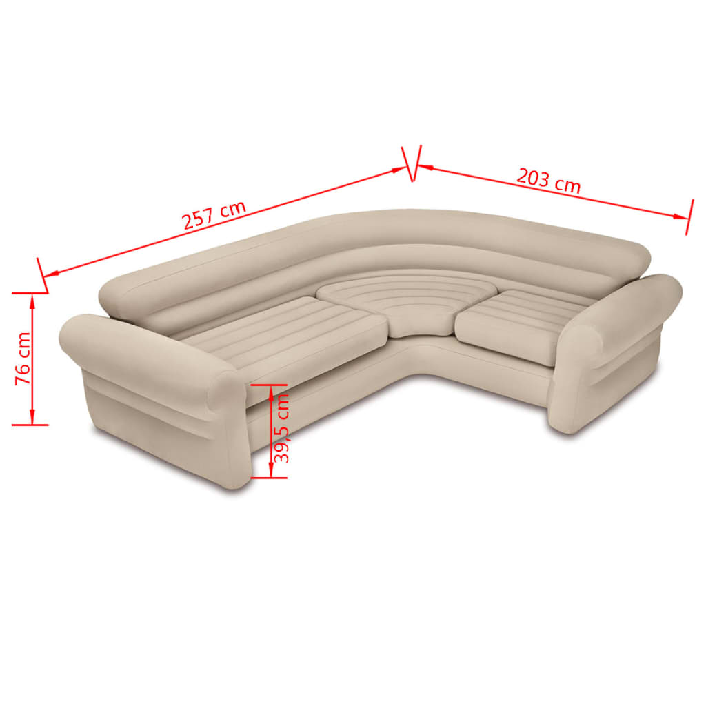 intex sofa chair chicago bed uk inflatable corner couch 257x203x76 cm 68575np