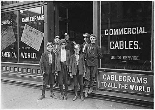 Boys employed as telegraph messengers, Indiana, 1908