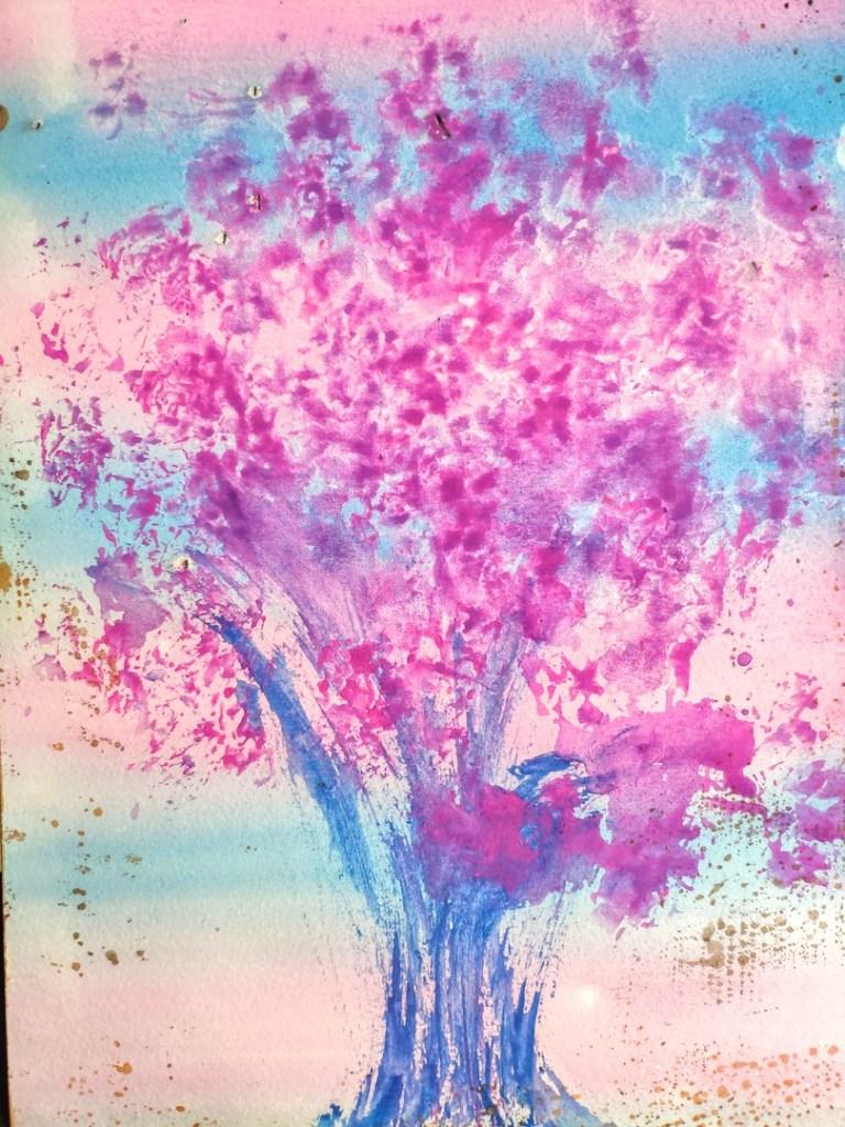 Exercice hebdomadaire #001 : peinture intuitive (rose et bleu)