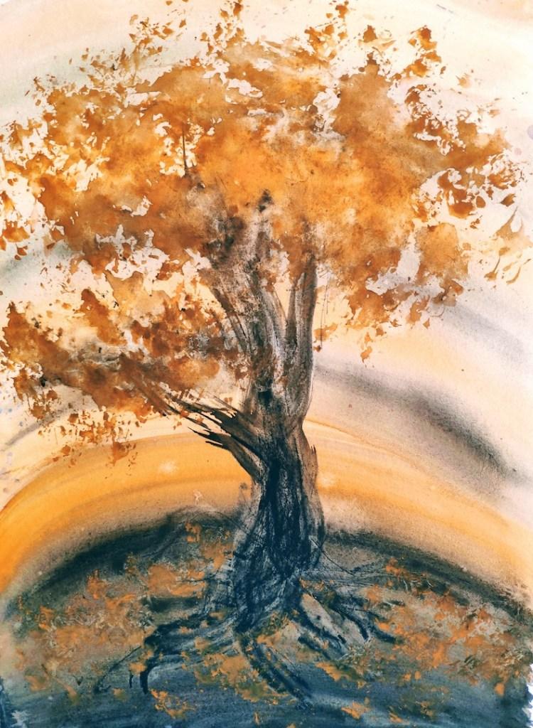 Exercice hebdomadaire #001 : peinture intuitive (orange et noir)