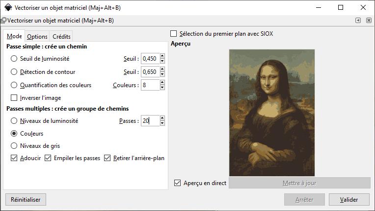 InkScape : Vectoriser une image avec 20 passes
