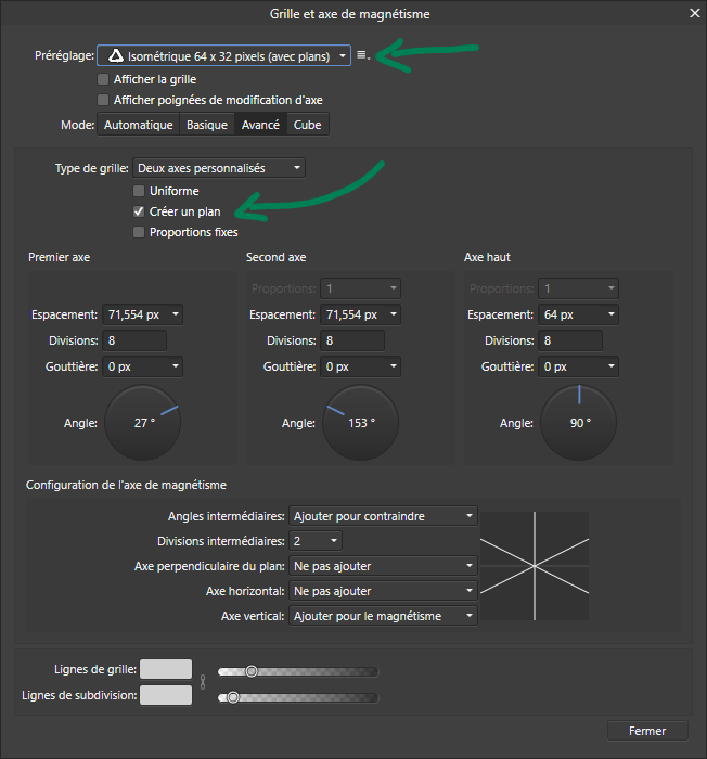 Tuto Affinity designer : la grille isométrique - paramétrage
