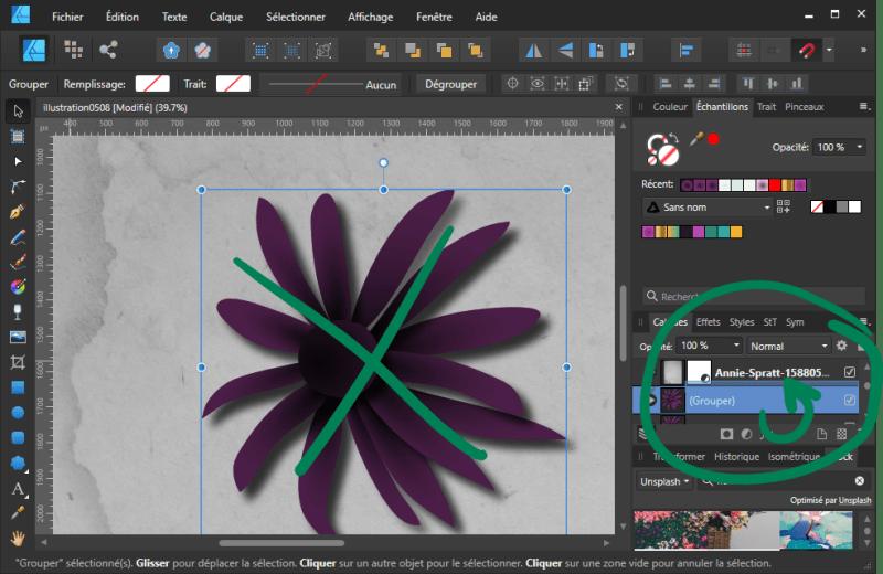 Tuto Affinity Designer : Ne pas glisser le sujet sans ombre sur le nom du calque texturé (13)