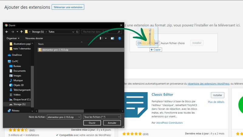 Installer Elementor Pro : glisser le fichier zip (ou cliquer sur Ouvrir après l'avoir sélectionné)