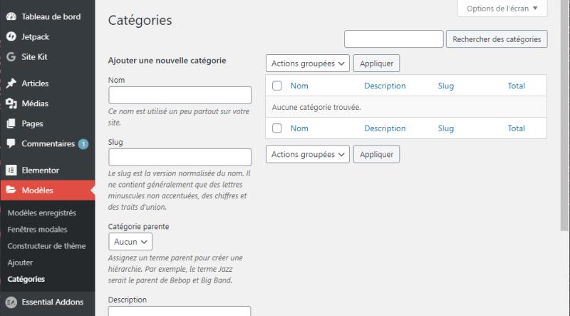 Modèles dans la barre latérale WordPress : Catégories