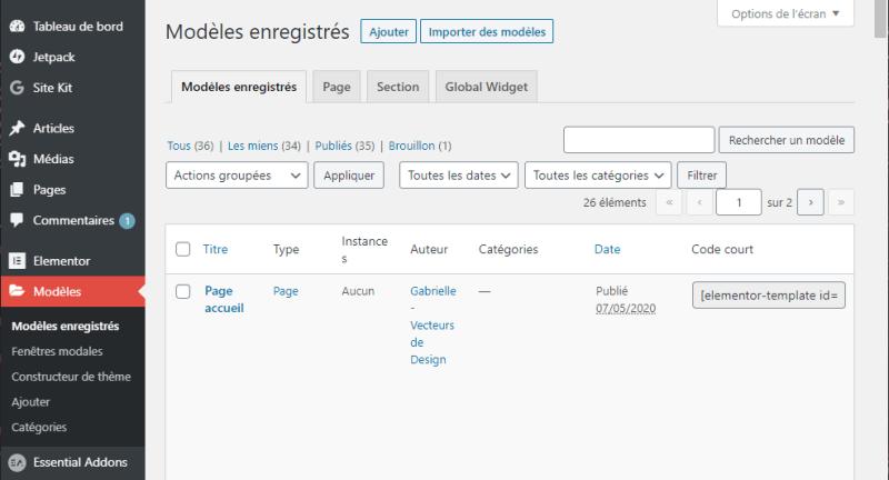 Modèles dans la barre latérale WordPress : Modèles enregistrés