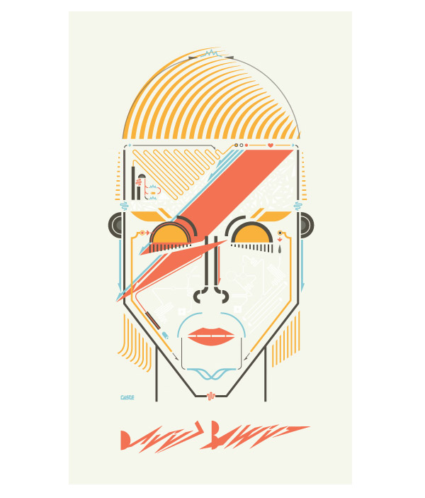 David Bowie's portrait by Leandro Castelao