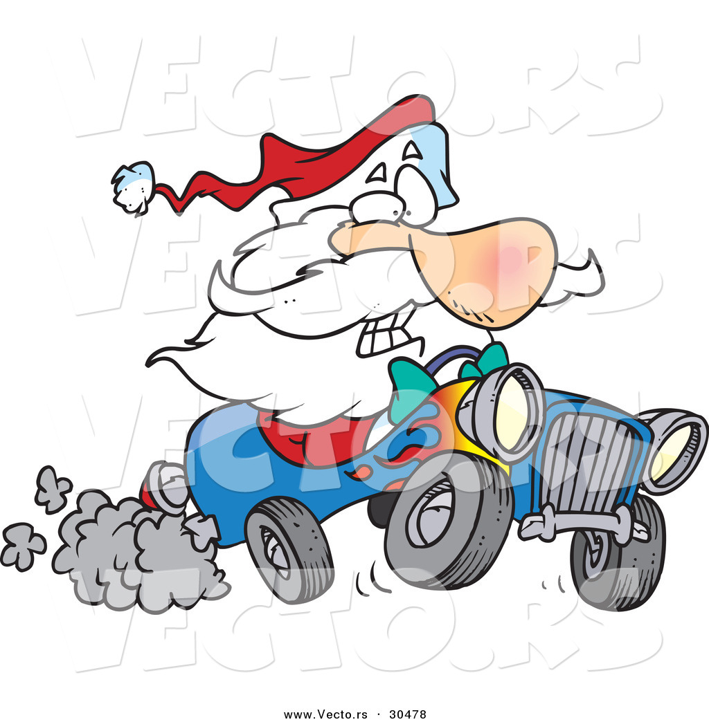 Cartoon Vector Of A Scared Santa Driving Super Fast Hot Rod Car By Toonaday