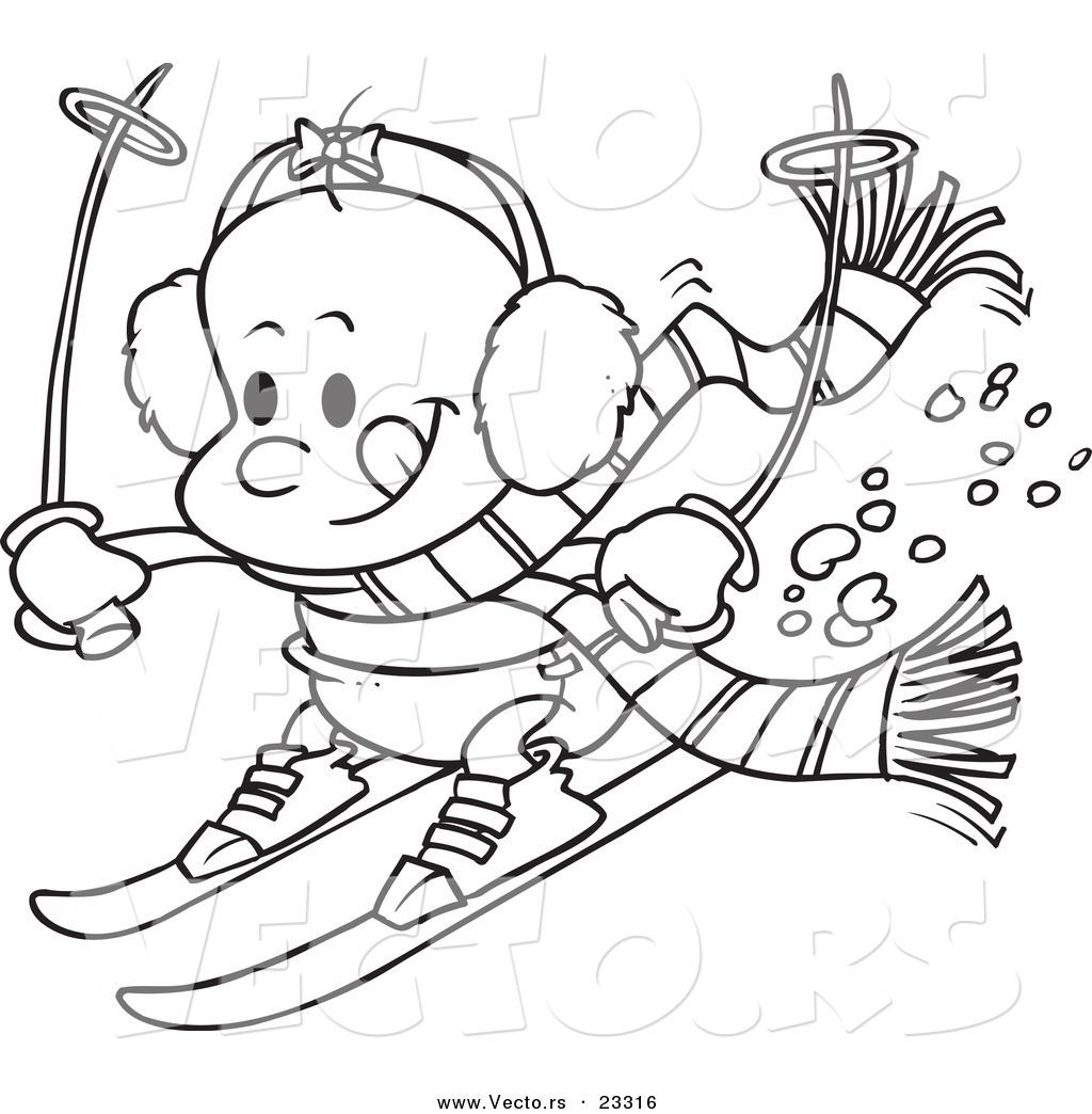 Cartoon Vector Of Cartoon Baby Girl Skiing