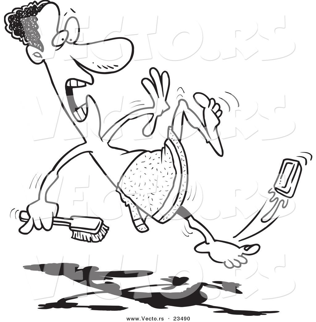 Cartoon Vector of Cartoon Black Man Slipping on Soap