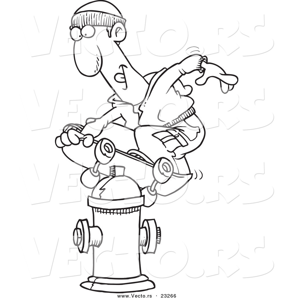 Cartoon Vector of Cartoon Man Skateboarding on a Hydrant